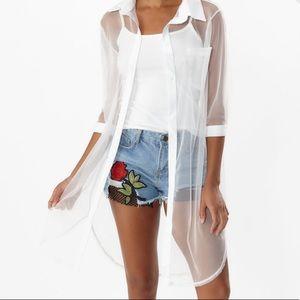 Tops - White sheer jacket